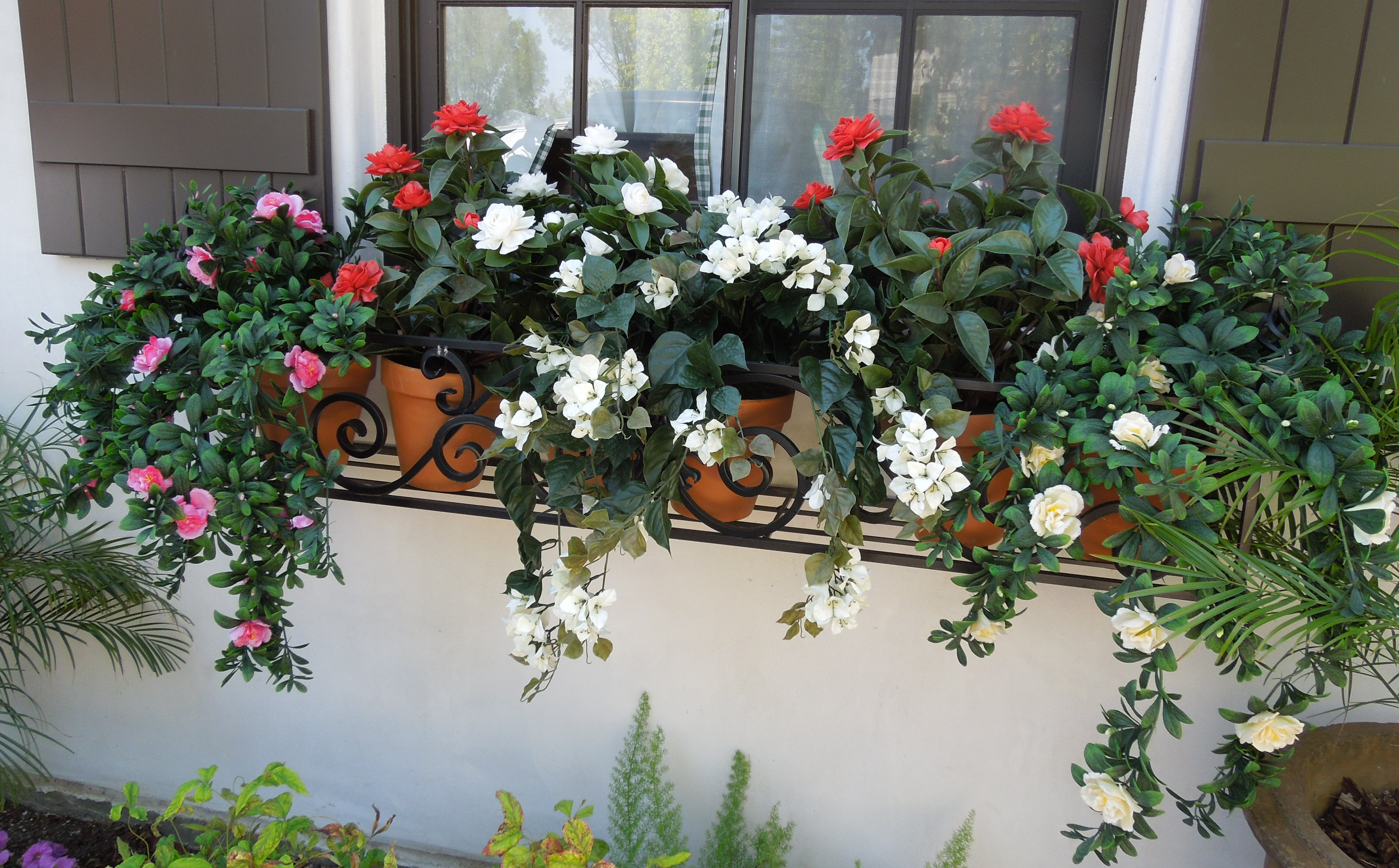 Residential flower boxes - replaced with UV mixed live flowering plants