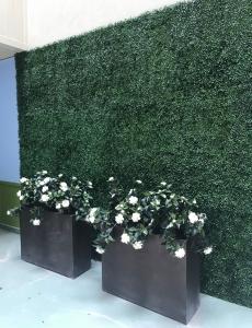 faux uv green wall planting, artificial azaleas in planter