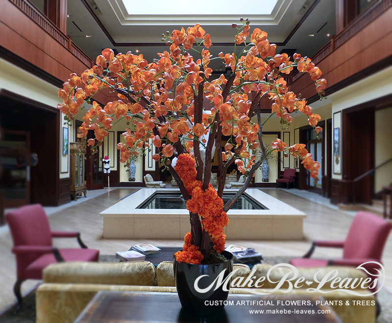 Makebe-leaves-artificial-5ft-Orange-Orchids-item220