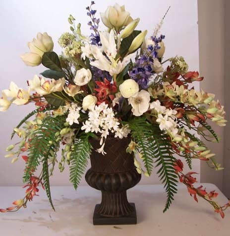 silk floral arrangements, artificial tropical flowering plants