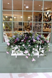 Window box Silk Floral arrangement in shades of lavender and pink