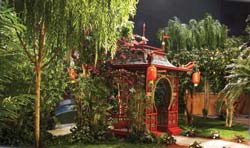 Silk Plantscape re-creation of an exterior landscape of a Beverly Hills estate for a 20th Century Fox television production