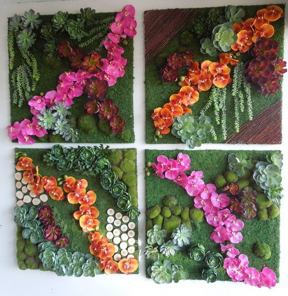 A Small Grouping Of Wall Pieces Including A Mix Of Preserved And Faux  Mosses, Artificial