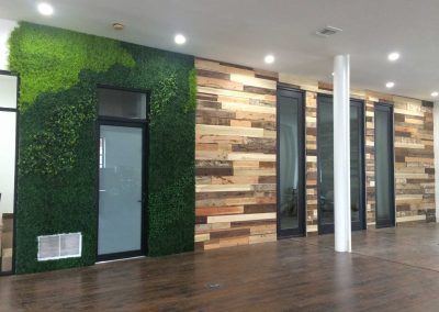 Office faux Boxwood living wall