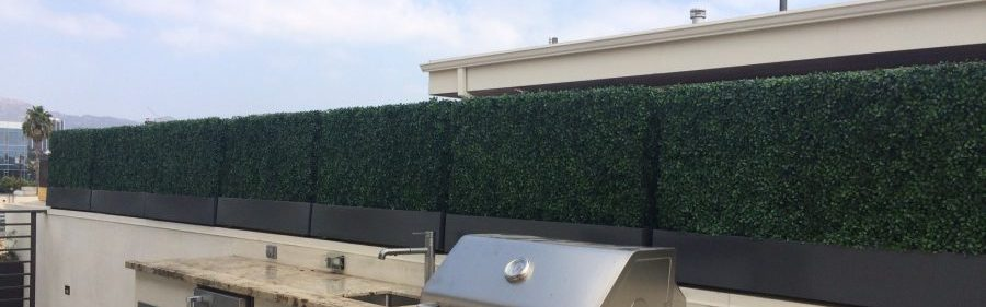 Artificial plants, UV exterior faux boxwood topiaries, ficus trees and grasses
