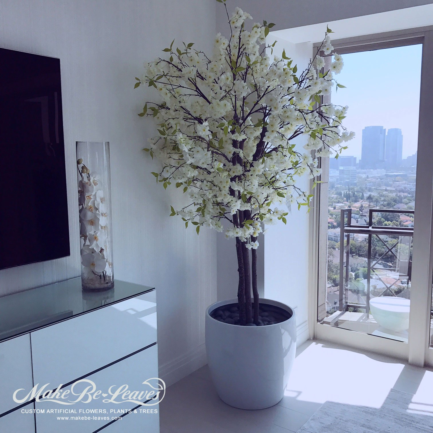 Our largest silk pink cherry blossom tree is over 14 feet Artificial trees for interior design